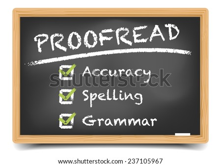 detailed illustration of a blackboard with Proofread concept, eps10 vector, gradient mesh included - stock vector