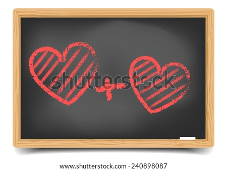 detailed illustration of a blackboard with two red hearts, eps10 vector, gradient mesh included - stock vector