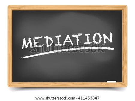 detailed illustration of a blackboard with underlined Mediation text, eps10 vector, gradient mesh included - stock vector