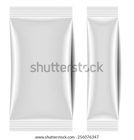 detailed illustration of a blank sachet packaging template, eps10 vector - stock vector