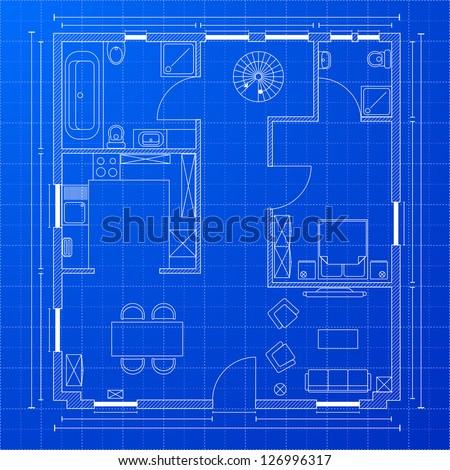 detailed illustration of a blueprint floorplan, eps 10 - stock vector