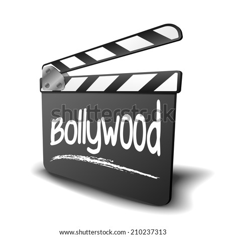 detailed illustration of a clapper board with Bollywood term, symbol for film and video genre, eps10 vector - stock vector