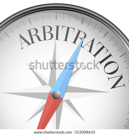 detailed illustration of a compass with Arbitration text, eps10 vector - stock vector