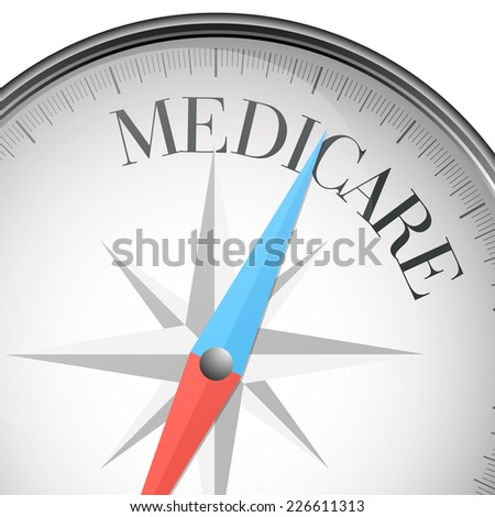 detailed illustration of a compass with medicare text, eps10 vector - stock vector