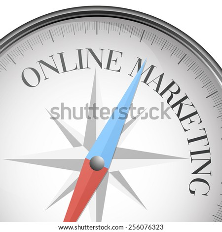 detailed illustration of a compass with online Marketing text, eps10 vector - stock vector