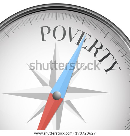 detailed illustration of a compass with poverty text, eps10 vector - stock vector