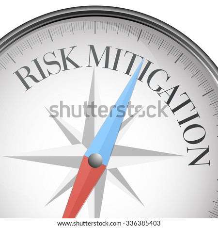 detailed illustration of a compass with Risk Mitigation text, eps10 vector - stock vector