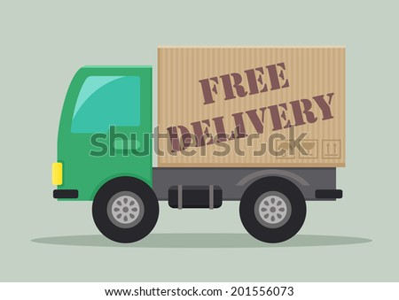 detailed illustration of a delivery truck with free delivery label, eps10 vector - stock vector