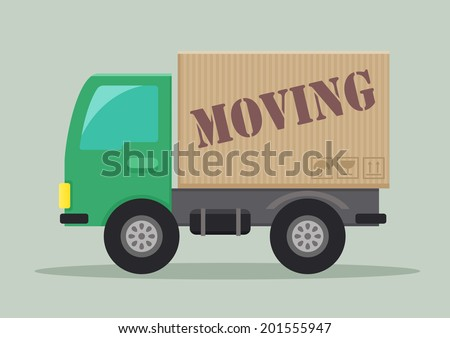 detailed illustration of a delivery truck with moving label, eps10 vector - stock vector