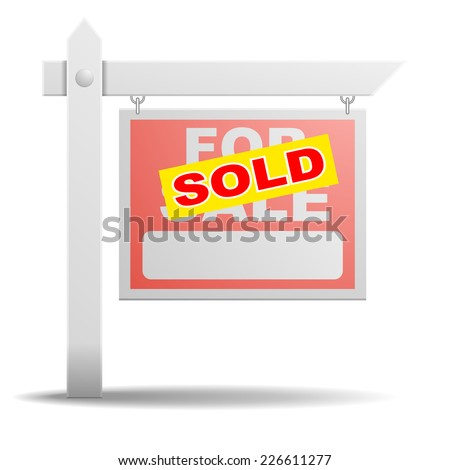 detailed illustration of a For Sale real estate sign with a yellow Sold sticker on it, eps10 vector - stock vector