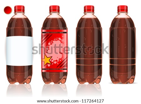 Detailed illustration of a Four plastic bottles of cola with labels - stock vector