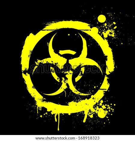 detailed illustration of a grungy biohazard warning sign - stock vector