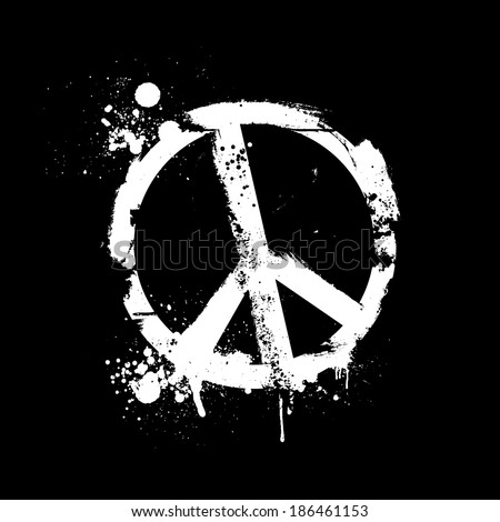 detailed illustration of a grungy peace symbol, eps10 vector - stock vector