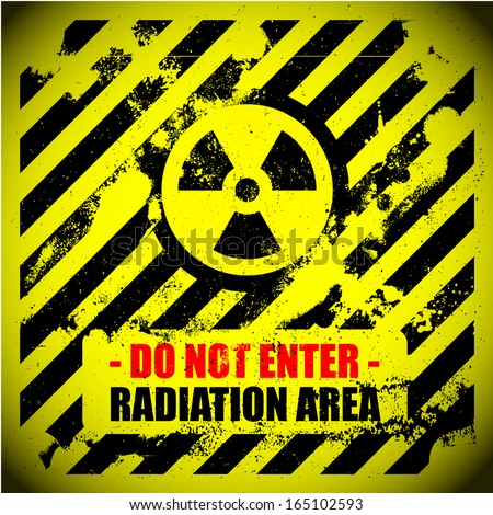 detailed illustration of a grungy radiation warning sign - stock vector