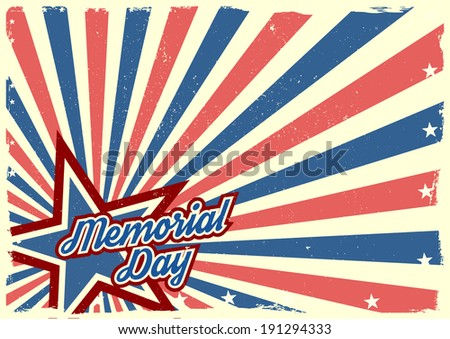 detailed illustration of a grungy stars and stripes backbround with Memorial Day text, eps 10 vector - stock vector