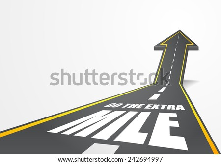 detailed illustration of a highway road going up as an arrow with go the extra mile text, eps10 vector - stock vector