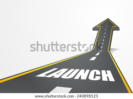 detailed illustration of a highway road going up as an arrow with launch text, eps10 vector - stock vector