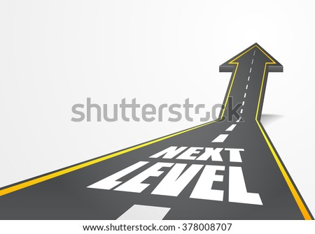 detailed illustration of a highway road going up as an arrow with Next Level text, eps10 vector - stock vector