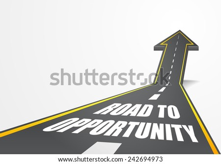 detailed illustration of a highway road going up as an arrow with road to opportunity text, eps10 vector - stock vector