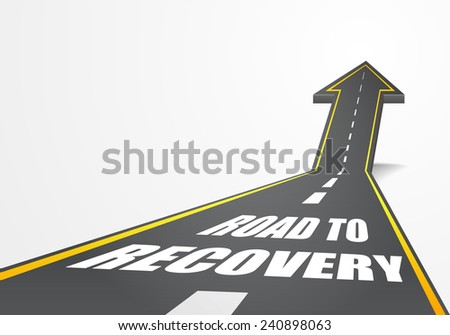 detailed illustration of a highway road going up as an arrow with Road To Recovery text, eps10 vector - stock vector