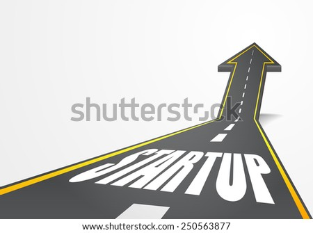 detailed illustration of a highway road going up as an arrow with Startup text, eps10 vector - stock vector