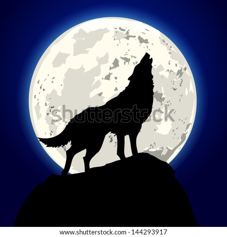 detailed illustration of a howling wolf in front of the moon, eps 10 ... Angry Black Wolf Drawing