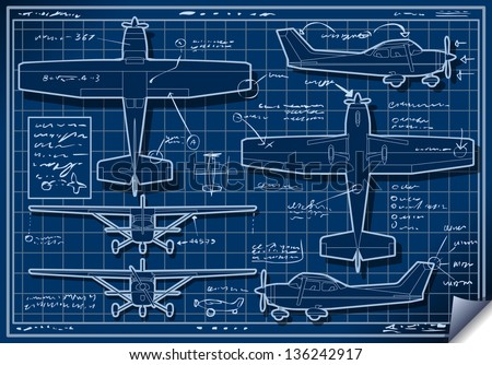 Detailed illustration of a Infographic Airplane Blue Print - stock vector