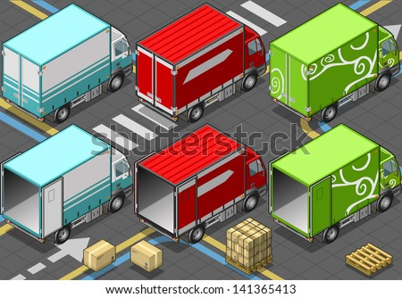 Detailed illustration of a Isometric Delivery Truck in Three Livery in rear view - stock vector