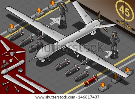 Detailed illustration of a Isometric Drone Airplane Landed in Front View with Bombs and Guards  - stock vector