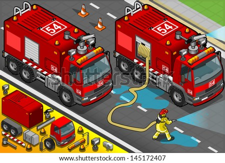 Detailed illustration of a Isometric Firefighter Tank Truck in Front View - stock vector