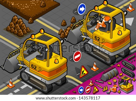 detailed illustration of a isometric mini excavator in rear view - stock vector