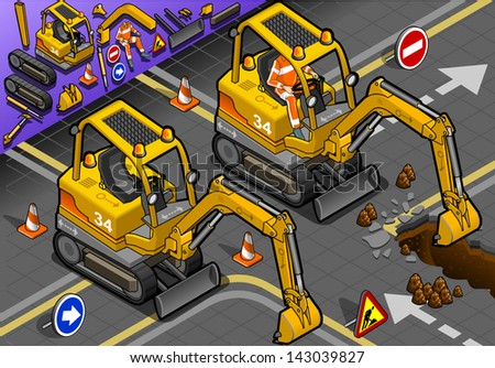 detailed illustration of a Isometric Mini Excavator with Man at Work in front view - stock vector