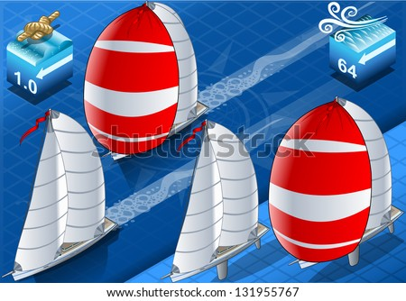 Detailed illustration of a isometric sail ships in navigation and regatta - stock vector
