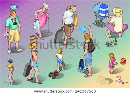 Detailed illustration of a Isometric Tourists Peoples Set in Vacation - stock vector