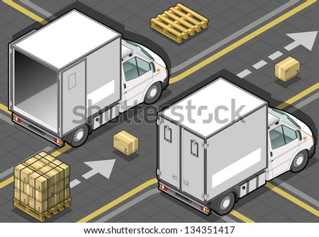 detailed illustration of a isometric white refrigerator van in rear view - stock vector