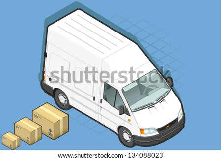 detailed illustration of a isometric white van in two position - stock vector