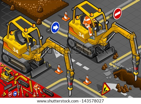 detailed illustration of a isometric worker piloting mini chisel excavator in front view - stock vector