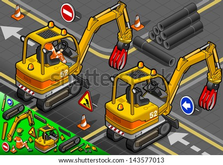 detailed illustration of a Isometric Worker Piloting Mini Mechanical Arm Excavator in Rear View - stock vector