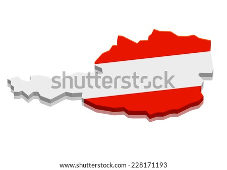 detailed illustration of a map of Austria with flag, eps10 vector - stock vector