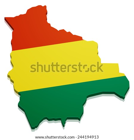 detailed illustration of a map of Bolivia with flag, eps10 vector - stock vector