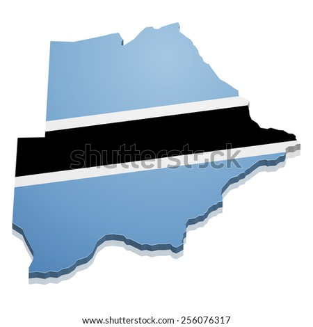 detailed illustration of a map of Botswana with flag, eps10 vector - stock vector