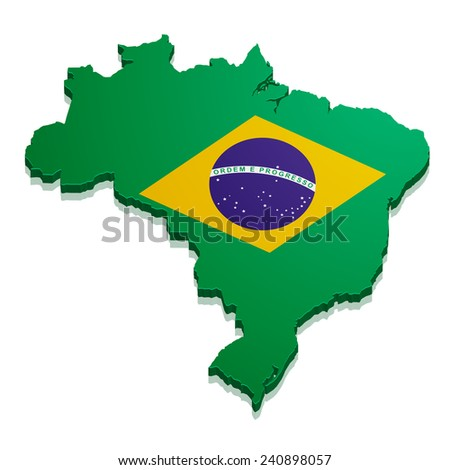 detailed illustration of a map of Brazil with flag, eps10 vector - stock vector