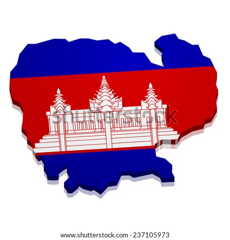 detailed illustration of a map of Cambodia with flag, eps10 vector - stock vector