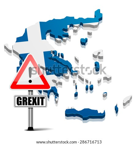 detailed illustration of a map of greece with flag and grexit sign, eps10 vector - stock vector