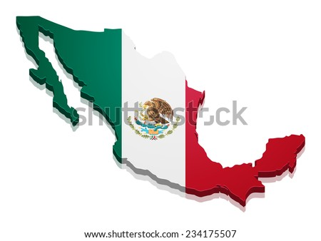 detailed illustration of a map of Mexico with flag, eps10 vector - stock vector