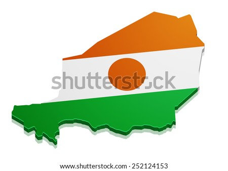 detailed illustration of a map of Niger with flag, eps10 vector - stock vector