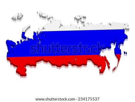 detailed illustration of a map of Russia with flag, eps10 vector - stock vector