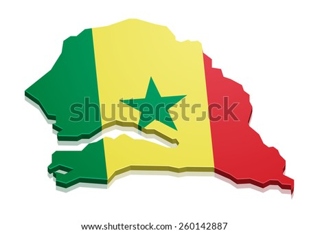 detailed illustration of a map of Senegal with flag, eps10 vector - stock vector