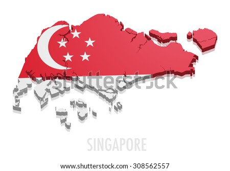 detailed illustration of a map of Singapore with flag, eps10 vector - stock vector