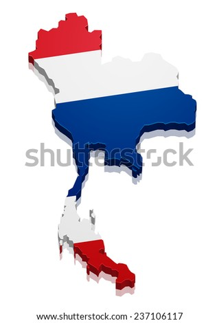 detailed illustration of a map of Thailand with flag, eps10 vector - stock vector